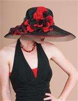 Louise Green Roses Black Straw Picture Hat