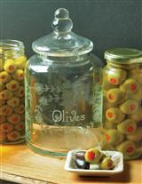 Etched Glass Olive Jar
