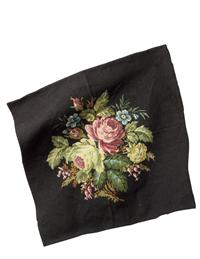 Belgian Bouquet Chair Seat Tapestry (Black)