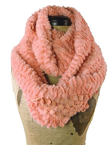 Plush Infinity Scarf With Lace