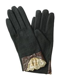 Black Cashmere & Kidskin Gloves