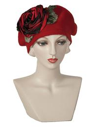 Louise Green Red Rose Beret