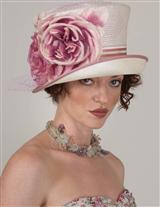 Louise Green Raspberry Rose Top Hat