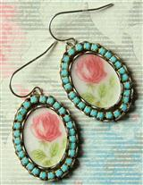 Vintage Component Faded Rose Earrings