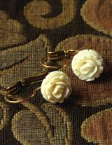 Prehistoric Fossilized Ivory Blossom Earrings