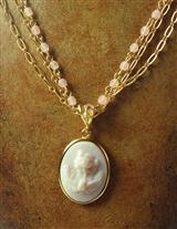 Teardrop Cameo Crystal Necklace