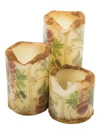Elizabethan Rose Flicker Candles (Set Of 3)