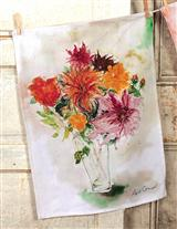Watercolor Mums Tea Towel