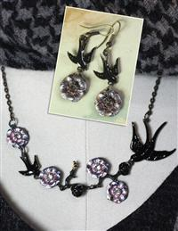 Black Bird Amongst Roses Necklace & Earrings