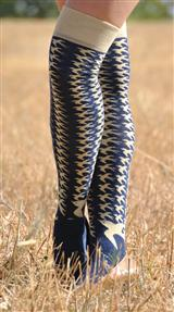 Navy & Beige W/ Birds Knee High Socks
