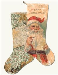 Vintage Postcard Christmas Stocking