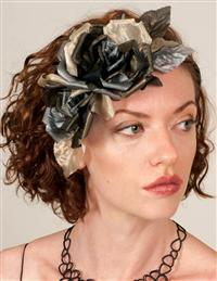 Louise Green Charcoal Rose Fascinator