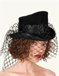 Louise Green Veiled Victorian Rider Hat