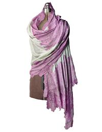 Mauve Lace On Smoke Cashmere Wrap