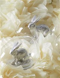 Rabbits In Glass Eggs (Set Of 3)