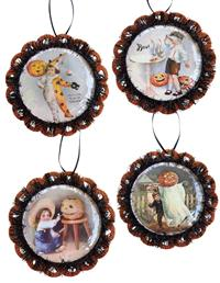 Jack-o-lantern Postcard Ornaments (Set Of 4)