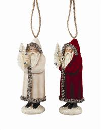 Father Christmas Velveteen Ornaments (Set Of 2)