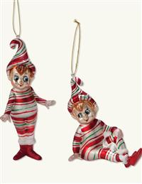 Peppermint Pixie Ornaments (Set Of 2)