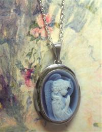 Sterling Silver Angel Cameo Necklace