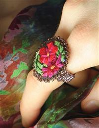 Embroidered Posy Bohemian Ring