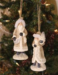 Wayfaring Santa Ornaments (Pair)