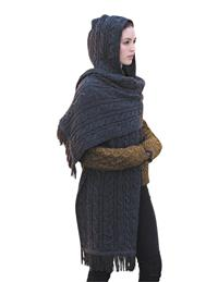 Hand Knitted In Ireland Hooded Wrap