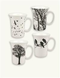Crows In The Hedgerow Silhouette Mugs