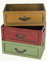Colored Wooden Storage Boxes(set Of 3)