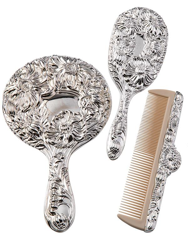 Brush Comb And Mirror Set Silver Plated Vanity Set