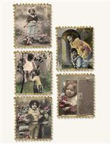 19Th C. French Postcard Stickers