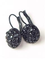 Ornate Black Glass Button Earrings