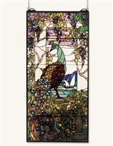 Peacock Under Wisteria Stained Glass
