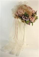 Antiqued Teapart Hat (Ivory & Rose Pastels)