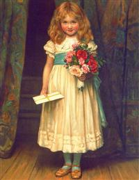 Girl With Card&flowers (Pkg Of 6 Birthday Cards)