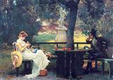 Couple At Table In Garden (Pkg Of 6 Blank Cards)