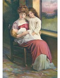 Mother Sitting W/children (Pkg Of 6 Blank Cards)