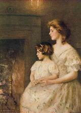 Woman & Girl At Fireplace (Pkg Of 6 Blank Cards)