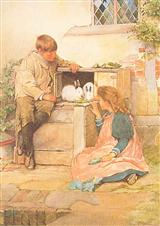 Boy & Girl With Rabbits (Pkg Of 6 Easter Cards)