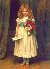 Girl With Flowers&letter (Pkg Of 12 Enclosures)