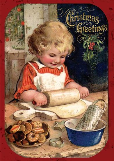 Girl Making Cookies (Pkg Of 10 Holiday Cards)