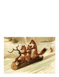 Sledding Foxes (Pkg Of 10 Holiday Cards)