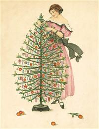 Woman Decorating Tree (Pkg Of 10 Holiday Cards)