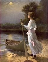 Woman With Boat (Pkg Of 8 Notecards)